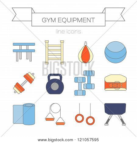 Set of modern flat line icons sports equipment, gym training