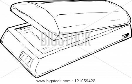 Outlined Open Flatbed Scanner