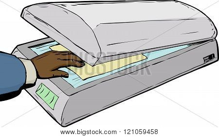 Hand Placing Paper In Scanner