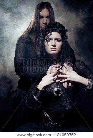 Romantic portrait of young gothic couple