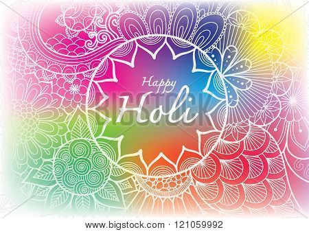 Happy Holi word inside the floral mandala flowers line art with blurred Holi powder paint clouds background for banner, poster and so on
