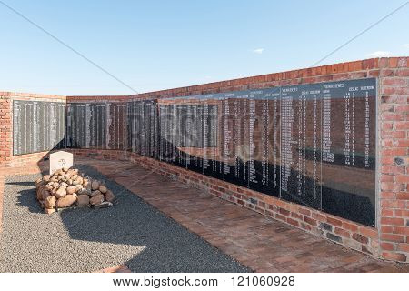 Memorial Wall At The Military Cemetery In Springfontein