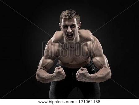 Fitness man model torso posing and showing perfect body