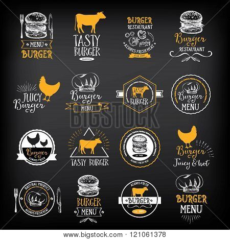 Burger menu restaurant badges. Fast food design template.