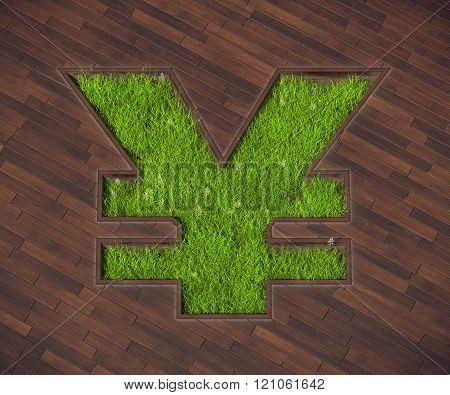 The picture combines the icon yen and lawn. Lawn in the form of the yen is an interesting solution for terraces outside the city.