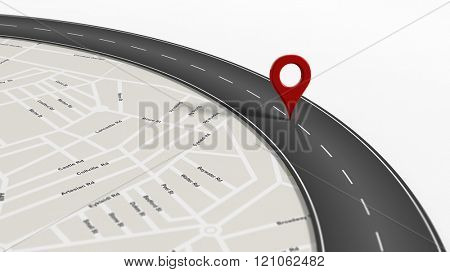 Map with zoom on road with turn and big red pointer, isolated on white background.
