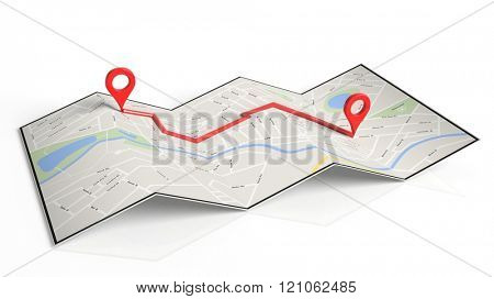Folded paper map with two red pointers set on route, isolated on white background.