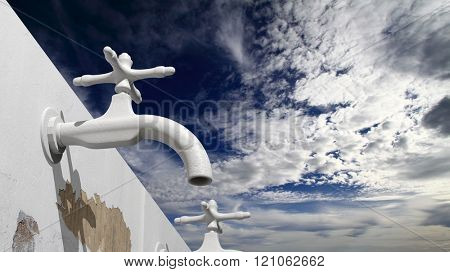 3D old outside water tap, with blue sky and clouds background