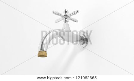 3D water tap shut with crock, isolated on white background.