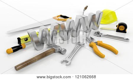 Various hand tools with 3D WWW  text, isolated on white background.
