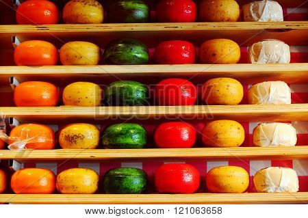Colorful Dutch Cheese On Shelves