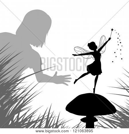 EPS8 editable vector illustration of a young girl finding a fairy dancing on a mushroom