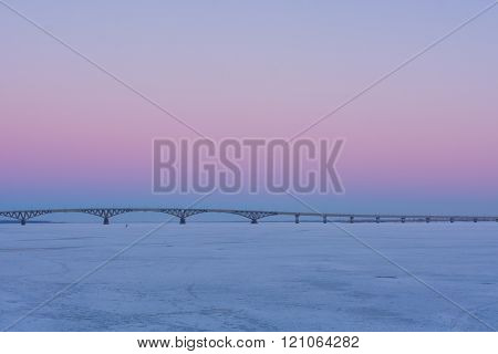Pink Sunset On The Waterfront In Saratov
