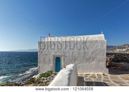 Small White orthodox church in Mykonos, Greece
