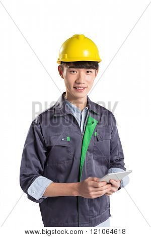 pose and gesture of young asian technician on white background