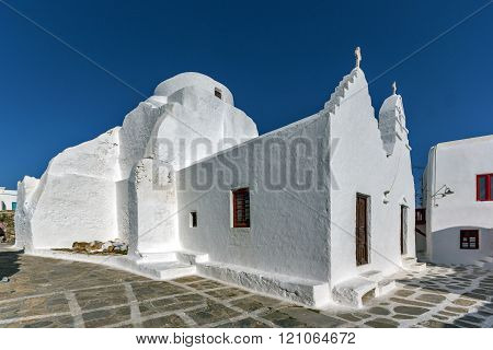 Panoramic view of White orthodox church in Mykonos, Greece