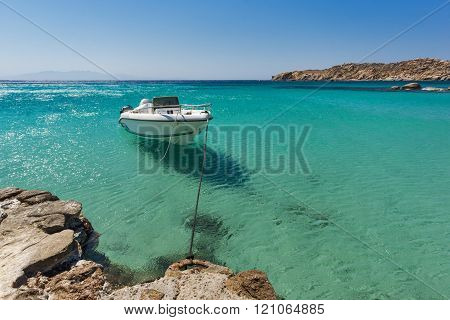 Clean Waters of Paranga Beach on the island of Mykonos, Greece