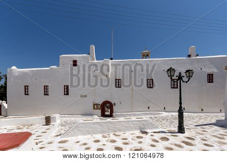 Frontal view of Panagia Tourliani monastery inTown of Ano Mera, island of Mykonos, Greece