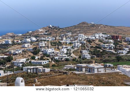 Panoramic view of Town of Ano Mera, island of Mykonos, Greece