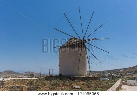 Old windmill in Town of Ano Mera, island of Mykonos, Greece