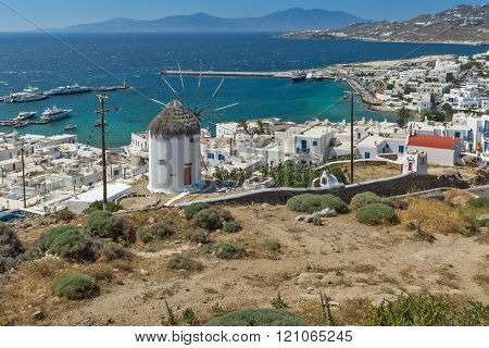 Panoramic view of white windmill and island of Mykonos, Greece