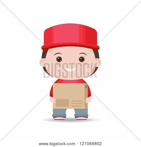 Man courier delivery services holding large box isolated white background.