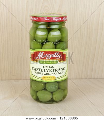 Jar Of Mezzetta Whole Green Olives