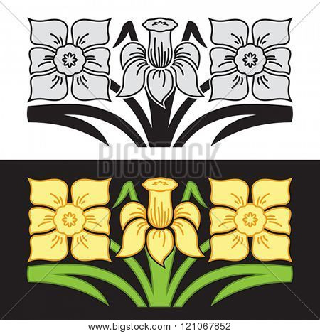 Ornament with stylized narcissus flowers.  Vector format EPS 8, CMYK.