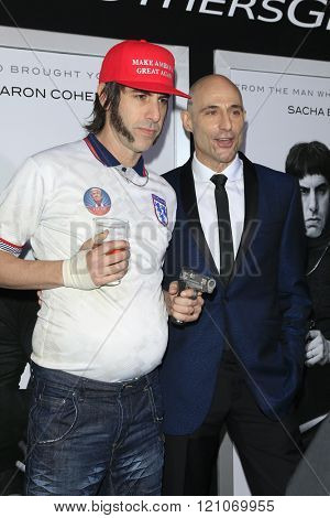 LOS ANGELES - MAR 3: Sasha Baron Cohen, Mark Strong at the Premiere of 'The Brothers Grimsby' at the Regency Village Theater on March 3, 2016 in Los Angeles, California
