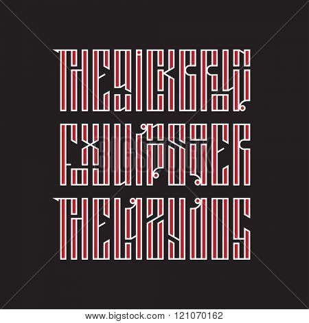 Latin stylization of Old slavic font. Custom type vintage lettering - The quick brown fox jumps over the lazy dog. Stock vector typography for labels, headlines, posters etc.
