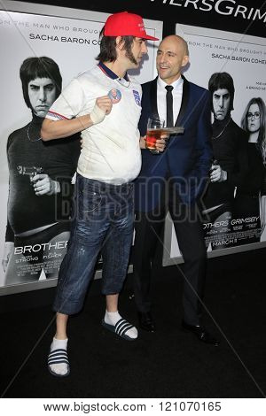 LOS ANGELES - MAR 3:  Sasha Baron Cohen, Mark Strong at the The Brothers Grimsby Premiere at the Regency Village Theater on March 3, 2016 in Westwood, CA