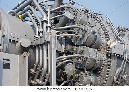 close up of turbine generator machinery