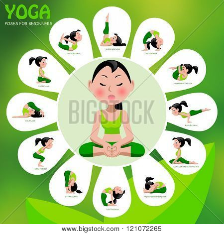 Yoga template with poses and titles on green background. Yoga Poses Infographic Elements with captions