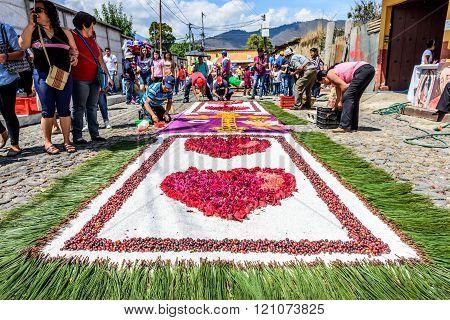 Locals Decorate Lent Carpets, Antigua, Guatemala