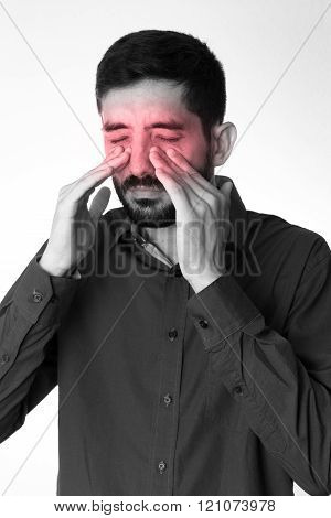 Sinus Pain, Sinus Pressure, Sinusitis. Sad Man Holding His Nose Because Sinus Pain