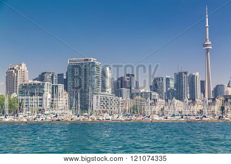 Toronto, Ontario, Canada, Aug.15, 2015, Gorgeous inviting great landscape view of Toronto downtown skyline on sunny bright day