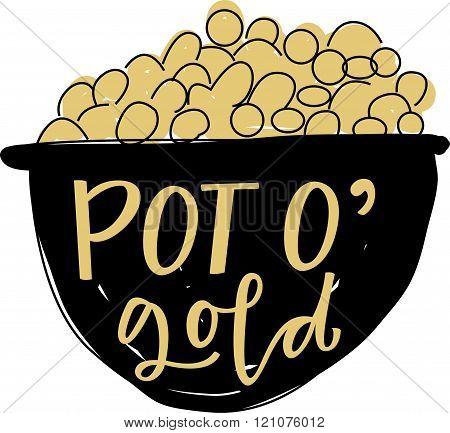 Vector Illustration of a Leprechaun's pot of gold