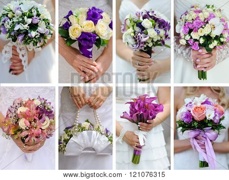 Collage photos from wedding bouquets in hands of bride