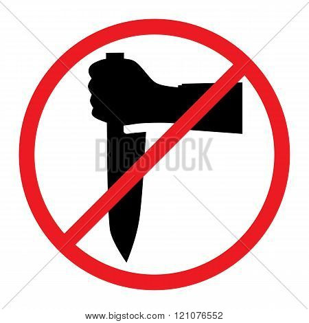 Hand With A Knife. No Weapons Sign.