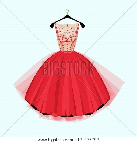 Red Party Dress. Red Vintage Style Party Dress With Flowers Decoration.vector Illustration. Fashion