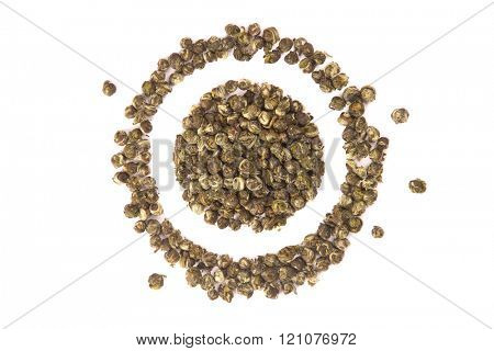 Oolong leaves rolled into balls, top view isolated on white background