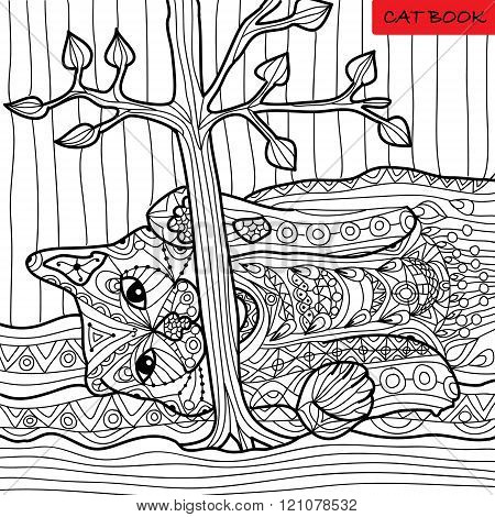 Naughty Cat - Coloring Book For Adults, Zentangle Patterns