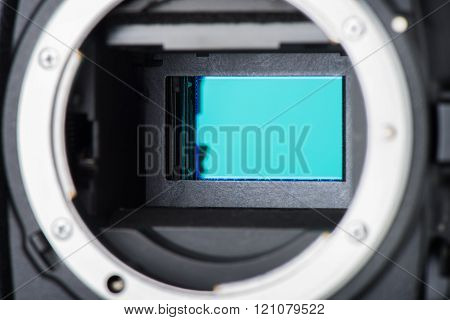 closeup sensor (CCD, CMOS) inside digital SRL camera