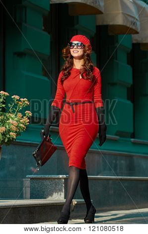 Lady In Red Dress in the street