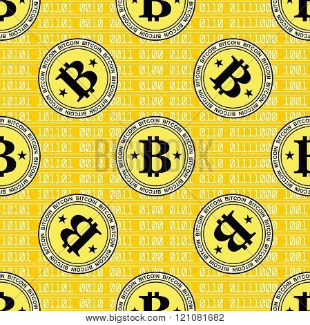 Bitcoin seamless on yellow background