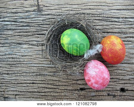 Colorful Of Eggs On Wooden  Background,easter,eggs Painting By Myself