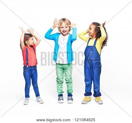 Portrait of children grimacing isolated on white background