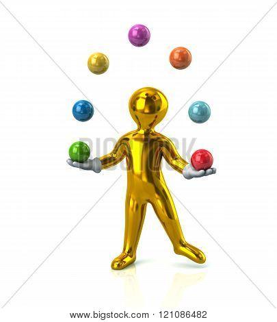Golden cartoon man juggles with a balls