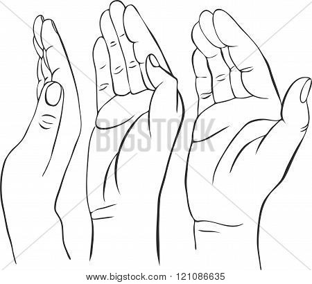 three hands with open palms