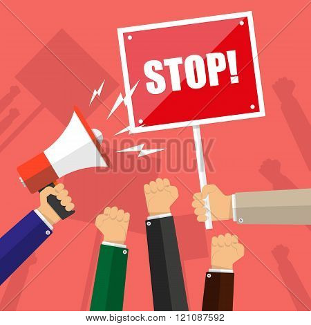 Cartoon hands of demonstrants, hand with Megaphone and stop sign, protest concept, revolution, confl